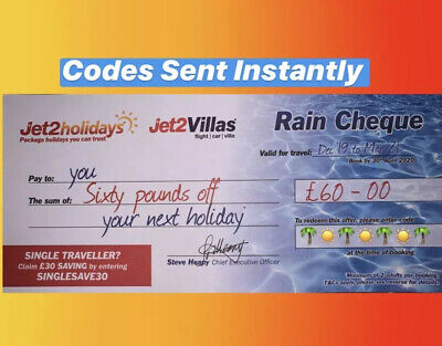 1x Summer 2020 Jet2Holidays £60 Rain Cheque voucher - OCT 2020 new codes