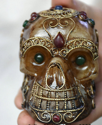 "3.2"" Antique Old Tibet crystal Silver Wire Inlay Gem Skull Head Skeleton Statue"