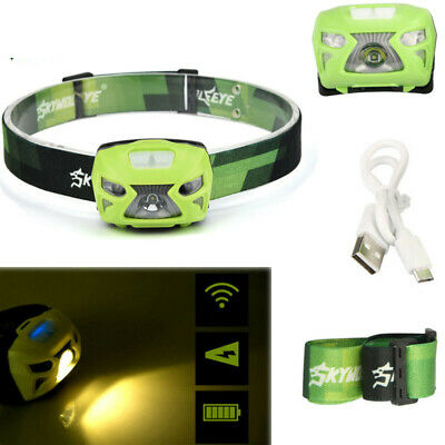 Outdoor Headlamp Torch Rechargeable LED 300 Lumens Motion Sensor XPE 3W USB