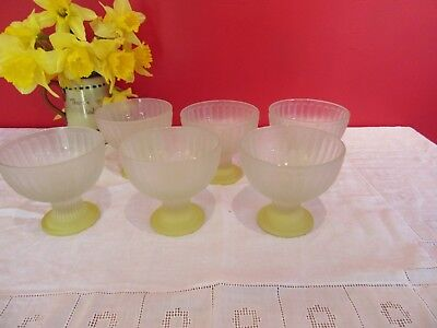 Retro Vintage Frosted ribbed Glass yellow base ice cream /fruit  Sundae dish x 6