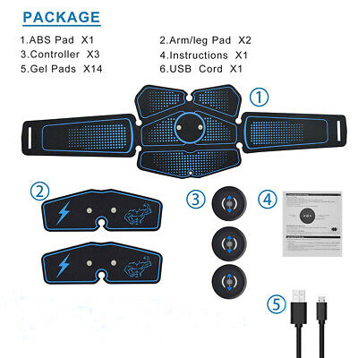 USB Charging Abdominal Toning Muscle Toner Trainer ABS Smart EMS Fitness Belts