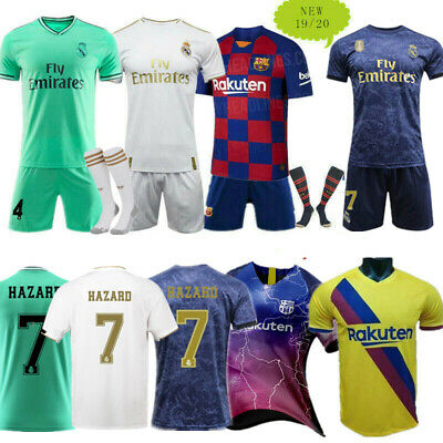 New Season 19-20 Football Full Kits Kids Youth Jersey Strip Sports Outfits+Socks