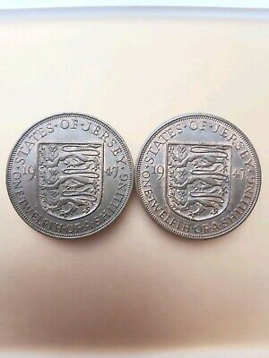 A Pair of  Jersey vintage coins one twelth of a shilling 1947 George VI