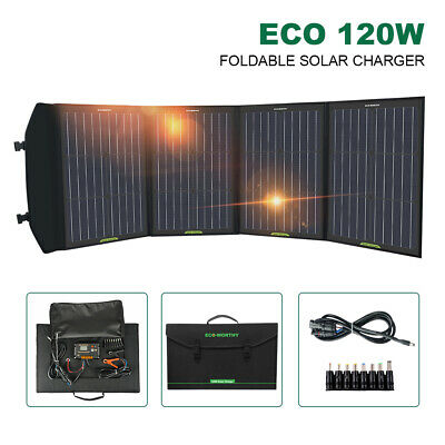 120W Dual USB Solar Panel Foldable Power Bank Panel Camping Hiking Phone Charger