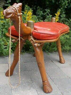 Old vintage leather camel saddle (stool)