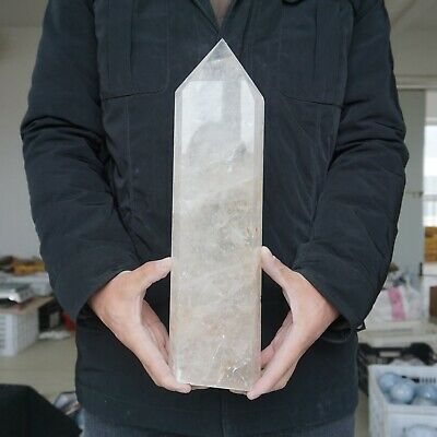 "10.5LB 14.1"" Natural Clear White Quartz Crystal Point Tower Polished Healing"