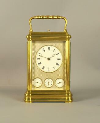 FINE GORGE GRANDE SONNIERE CARRIAGE CLOCK WITH CALENDAR - Margaine , Paris