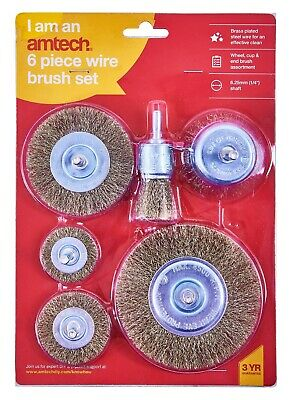 6Pc Rotary Wire Wheel Set Brush Cup 6Mm Shank Rust Paint Weld Removal De-Carb