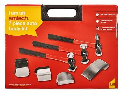 7Pc Auto Body Dent Car Panel Repair Tool Kit Beating Hammers Heel Dolly Dollies