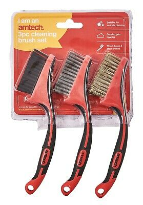 3Pc Brush Set Nylon Brass Steel Wire Brushes Paint Corrosion Removal Cleaning