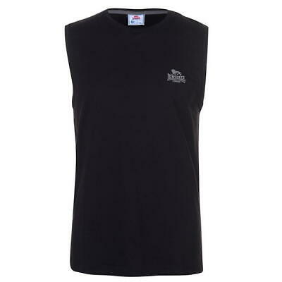 Mens Black Lonsdale Sleeveless Boxing Vest Gym Sport Crew Neck