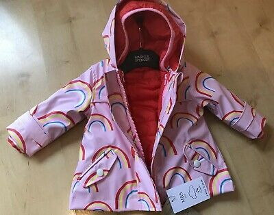 New Tags Marks & Spencer Baby Girls 3/6 Months 2 Part Set Raincoat Padded Nice
