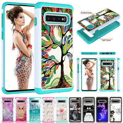 For Samsung Galaxy S10 5G S9 S8 Plus Pattern Shockproof Hybrid Rubber Case Cover