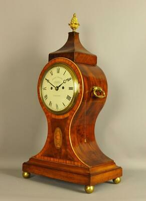 Fine Regency Mahogany Satinwood Balloon Fusee Bracket Clock