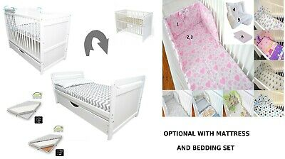 White Baby Cot Bed 120x60cm Mattress Foam-Buckwheat- Drawer- Bedding - Optional