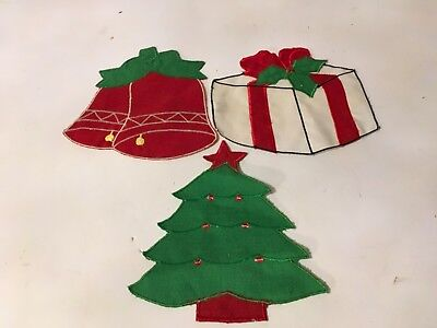 Branch /& Bells Christmas sew-on lace motif//appliqué//patch//craft//card making