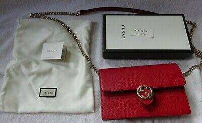 5ced8dc81 Gucci New Red Leather Interlocking Gg Wallet On Chain Woc Crossbody Bag