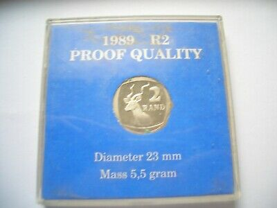PROOF 2 RAND COIN 1989 IN CAPSULE OF ISSUE HOUSE CLEARANCE fresh to market find
