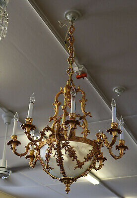 Best Dore 24kt Gold plated Bronze French Empire Figural Etched Glass Chandelier