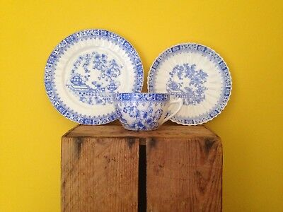 Vintage antique shabby chic look china cup saucer cake plate set blue white gold
