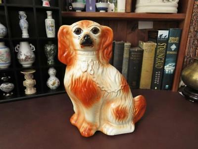 Antique  Staffordshire Wally/Mantle Dog, Spaniel With Glass Eyes