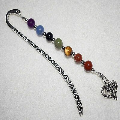 Gemstones Chakra Filigree Love Heart Beaded Bookmark Friend Present Gift