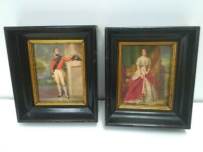 "Pair Antique Victorian Deep Well Set Wood Frames Gilt Trim for 3"" x 4"" Picture"