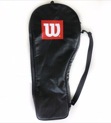 Wilson Pro Tennis Racket Full Cover Bag Carrying Case Clear Black Red Zip Up z