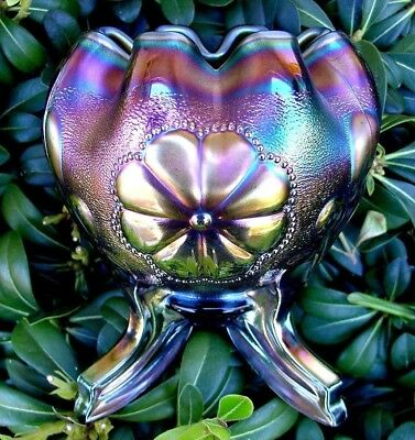"NORTHWOOD""CARNIVAL GLASS""ANTIQUE~MINTc1910""GREEN""DAISY&PLUME/BERRY FTD ROSE BOWL"