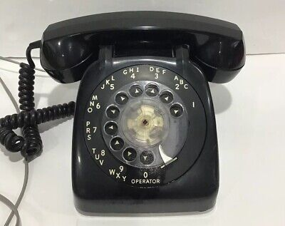 Vintage Retro Automatic Electric Rotary Dial Telephone Black 12/1969 Works