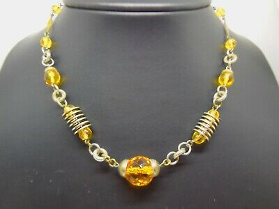 "Vintage Estate Old Art Deco Faceted Amber Czech Glass Crystal 16"" Necklace"