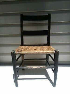 Vintage/Antique Child's Doll Chair Woven Seat Wood Black Shabby Chic Decor