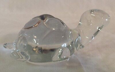Vintage Turtle/Tortoise Clear Glass Figurine Paperweight