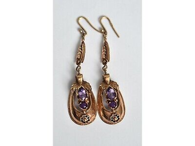 Pair of large Victorian rose 9ct gold amethyst drop earrings 9k 375 ~ 12.0grams