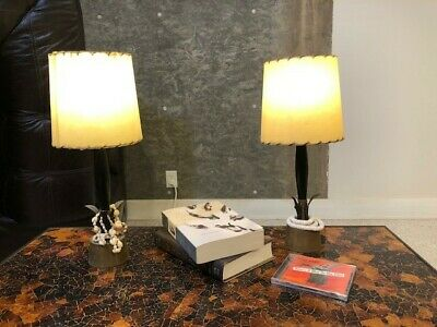 Dresser Lamps - Pair of Vintage Brass, Metal and Wood Lamps (vellum-hide shades)