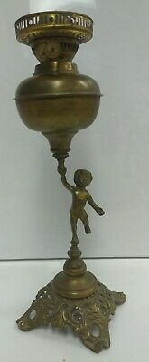 Antique Old Brass Duplex Double Wicked Oil Lamp w/ Statue Stand RARE England