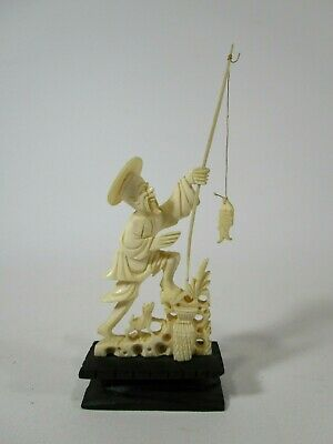 Antique vintage bovine bone carved Asian Chinese statue man fishing with dog