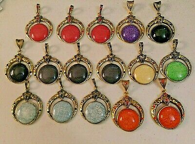 """16 JEWELED CRESCENT MOON & Stone Pendants for Necklaces - About 2"""" x 2"""" each"""