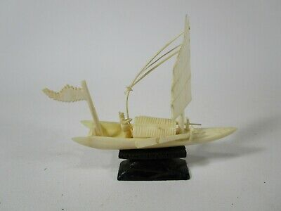 Antique vintage bovine bone carved small boat Asian Chinese statue/sculpture