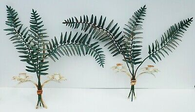 Fantastic Pair Mid Century Italian Tole Ware Candle Wall Sconces Botanical Fern