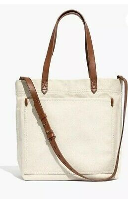 d21a43fc7 Madewell Canvas Medium Transport Tote Bag Leather Straps ***NO Crossbody  Strap