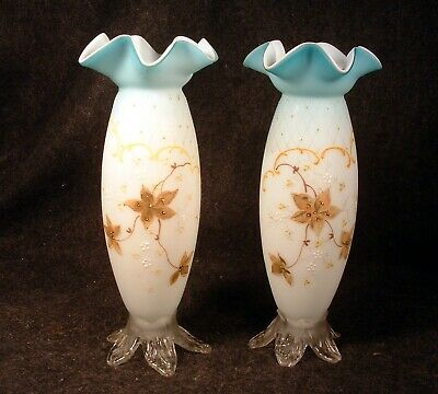 Pair of Antique Victorian Art Glass Hd. Ptd. Enameled Satin Glass Vases
