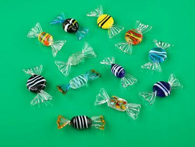 12pcs Vintage Murano Glass Sweets Stained Glass Candy Wedding Ornaments Gift AU