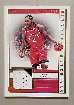 2018-19 Panini National Treasures Kawhi Leonard Biograhy Gold Materials 2/25 1/1