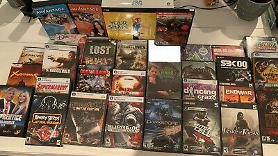 Computer PC CD DVD 32 game huge LOT mostly sealed and brand new never been used