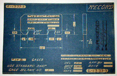 Colt Firearms Army Special 1915 Blueprint - Factory Orig