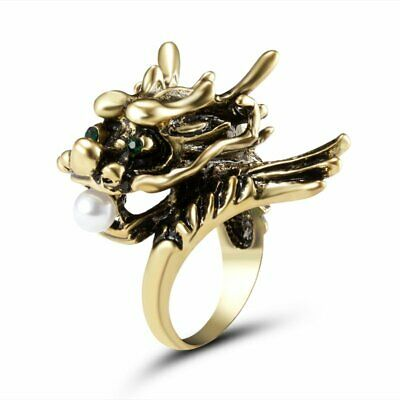 Fashion Men Punk Dragon Pearl Knuckle Finger Ring Stainless Steel Jewelry Gift