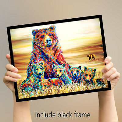 Animal HD Print Home Decor Art Painting on Canvas Bear Country Watercolor Framed