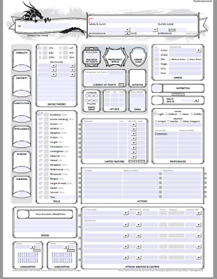 DUNGEONS & DRAGONS: 5e Deluxe Character Sheets D&D 5th edition SW