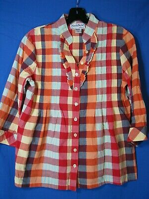 NORTH STYLE Super Cute PLAID CHECK TOP Babydoll Style BUTTON-UP Tux Ruffles XS